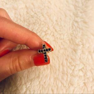 Jewelry - Brass and black crystal cross single stud